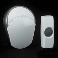 Sonnette de porte sans fil avec bouton Byron BY502E blanc - portée 100 m