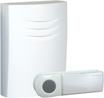 Sonnette de porte sans fil avec bouton Byron B401E blanc - portée 75 m
