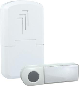Sonnette de porte sans fil portable avec bouton Byron DB401E blanc - portée 50 m