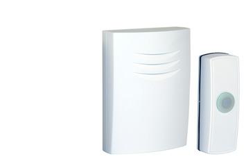 Sonnette de porte sans fil avec bouton Byron B304 blanc - portée 50 m