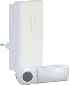 Sonnette de porte sans fil avec bouton poussoir Byron blanc portée 50 m