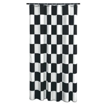 GAMMA Amber douchegordijn textiel polyester zwart/wit 180 x 200 cm