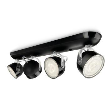 Support 4 spots Dyna Philips LED intégré 3W = 38W noir