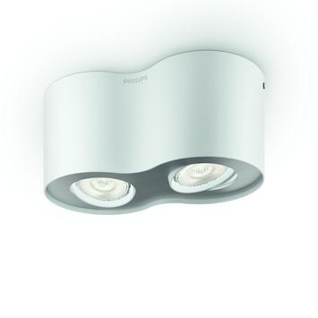 Plafonnier 2 spots Phase Philips LED intégré 4,5W = 30W blanc