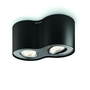 Philips Phase plafondspot met 2 x geïntegreerde LED 4,5W =  30W zwart