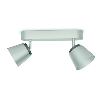 Support 2 spots Dender Philips LED intégré 4W = 31W nickel