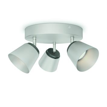 Plafonnier 3 spots Dender Philips LED intégré 4W = 31W nickel