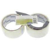 GAMMA verpakkingstape grijs 48 mm 30 meter 2 stuks + dispenser