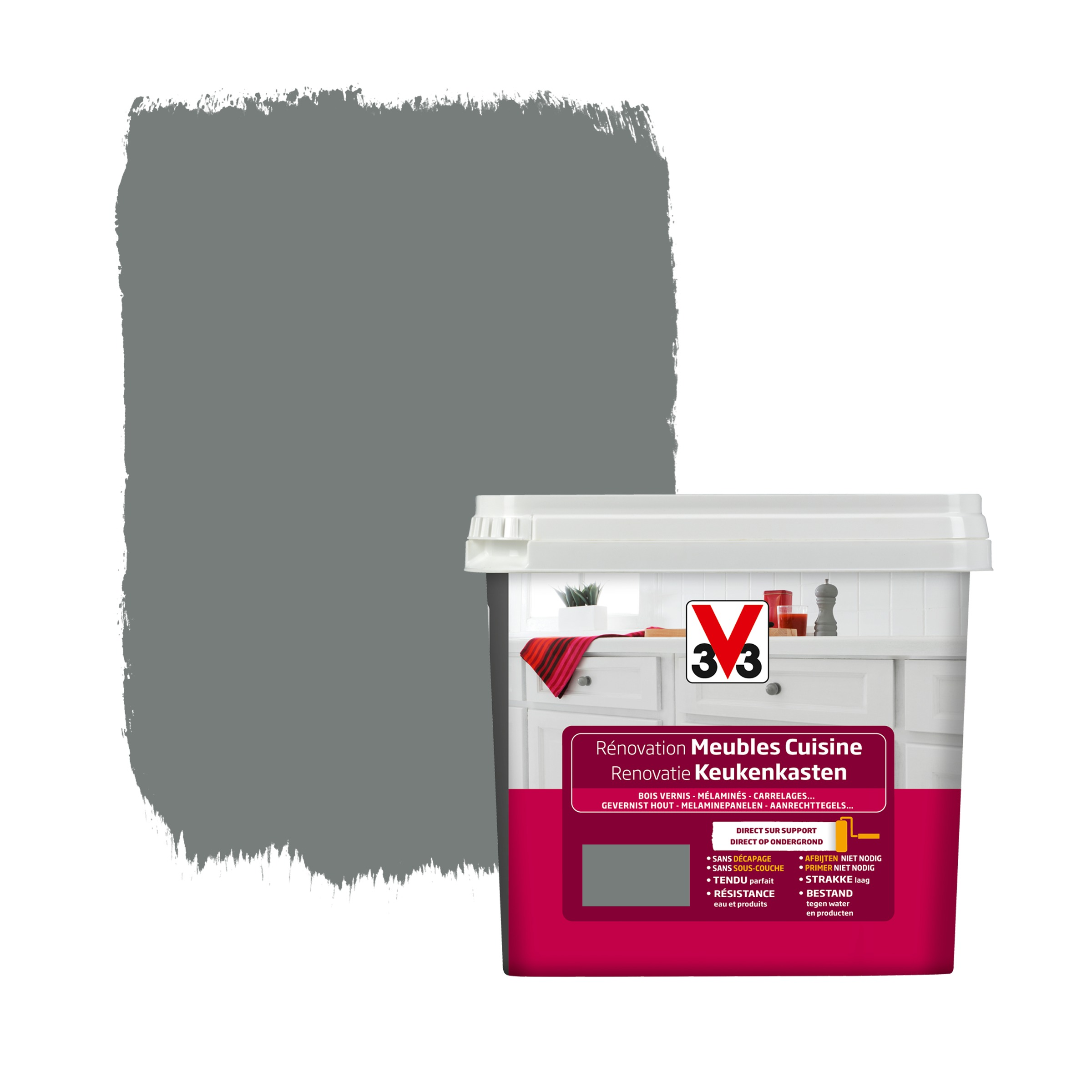 Peinture de r novation meubles cuisine v33 satin carbonate for Peinture renovation carrelage v33