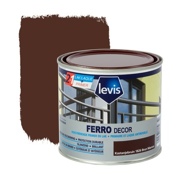 Levis Ferro Decor grondverf en afwerkingslak hoogglans kastanje 500 ml