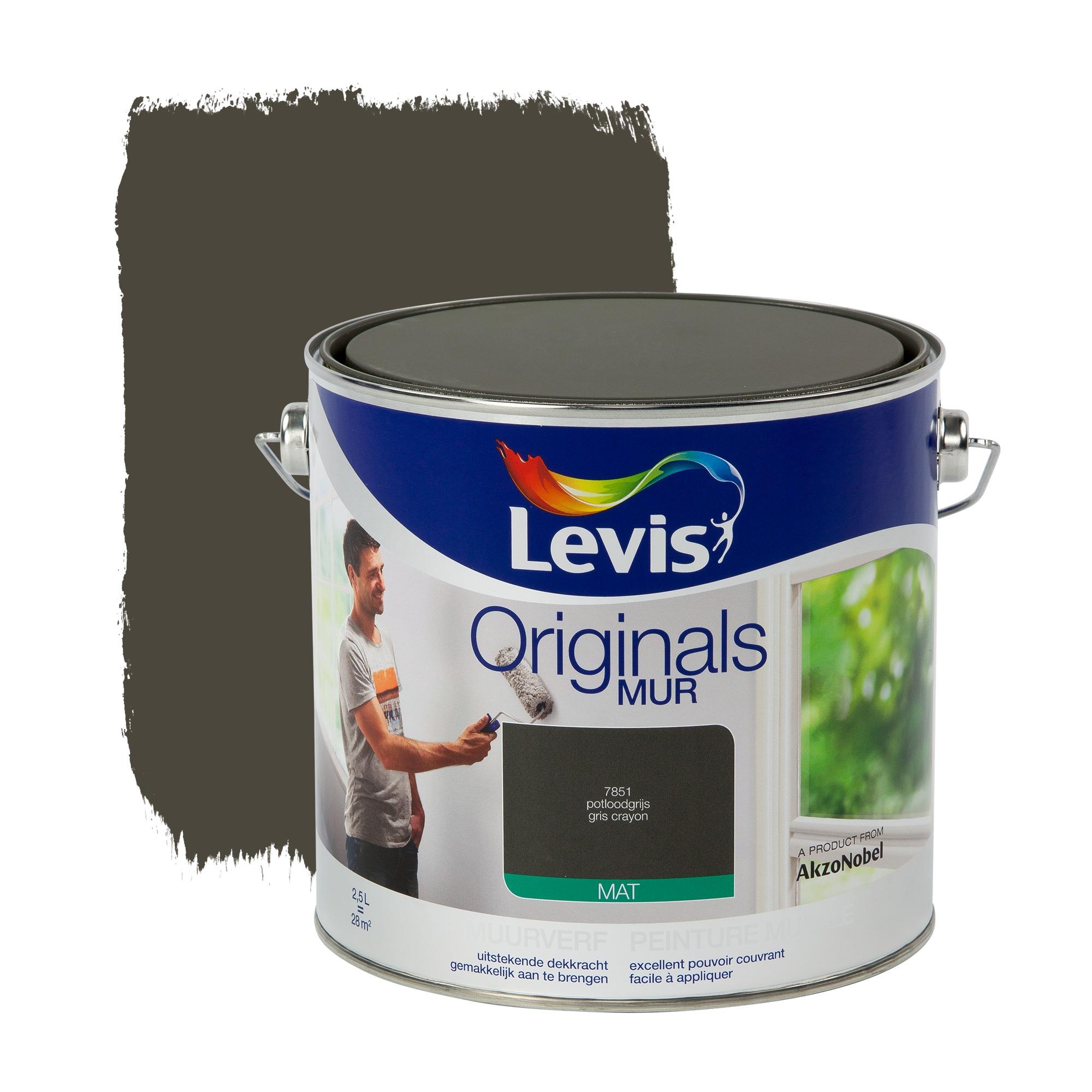 Peinture murale originals levis mat gris crayon 2 5 l peinture mur plafond papier peint for Peinture murale gris