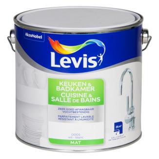 Peinture murale cuisine salle de bains levis mat blanc 2 for Peinture plafond cuisine