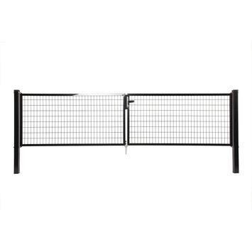 Dubbele poort Napoli ral 9005 zwart 100x400 cm