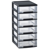 Allibert Babel ladenblok zwart 6 boxen 5 l/box