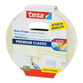 Tesa Premium Classic afplaktape 50 m x 19 mm geel