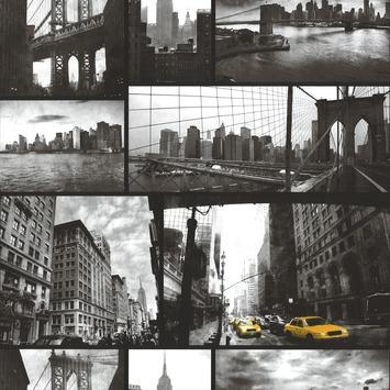 Vliesbehang New York vergrijsd-geel 33-187