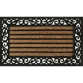 Stripe schraapmat kokos rubber naturel/zwart 45x75