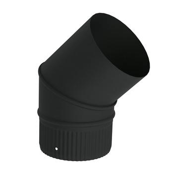 Saninstal bocht 45 graden geëmailleerd zwart 153 mm