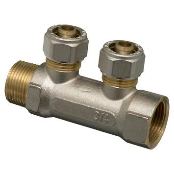 """Levica verdeler VPE-c watertoevoer 2 uitgangen 16-2,2 mm x 3/4"""""""