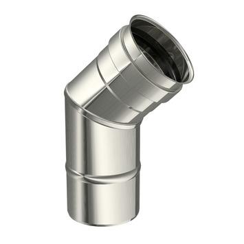 Saninstal bocht 45 graden voor pellet inox ø80 mm