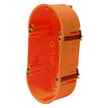 Boîtier d'encastrement mur creux double Helia 71x71x47 mm orange