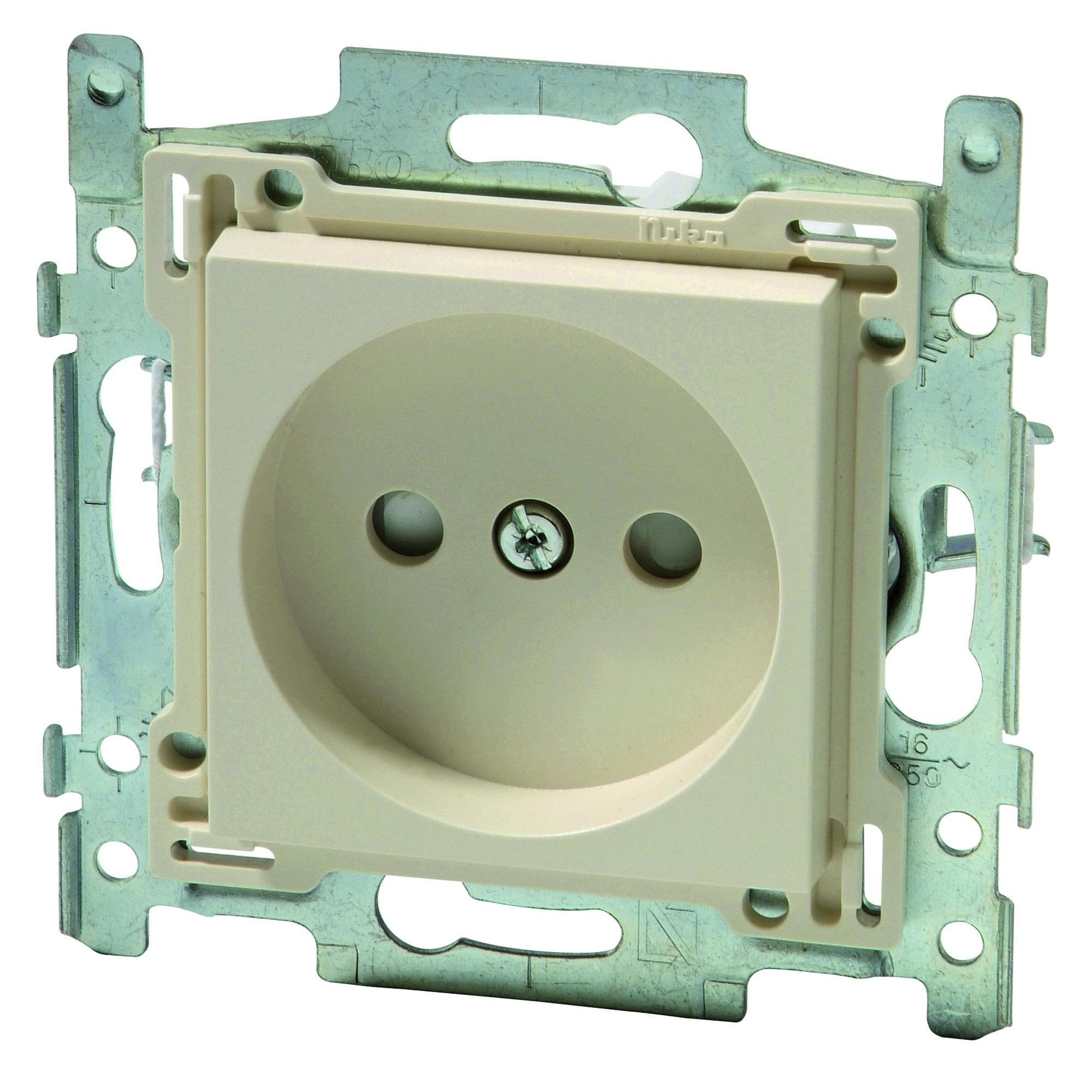 Niko stopcontact 2 polig zonder aarding 21 mm cream   Stopcontacten   Schakelmateriaal   Elektra