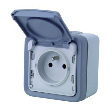 Legrand Plexo opbouwstopcontact 2-polig met aarding spuitwaterdicht grijs