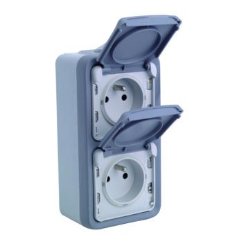 Legrand Plexo opbouwstopcontact 2-polig met aarding 2-voudig verticaal spuitwaterdicht grijs