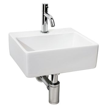 Ensemble lave-mains Brimo avec robinet et siphon blanc