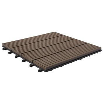 Dalle de jardin composite 6 pièces brun 31x31 cm