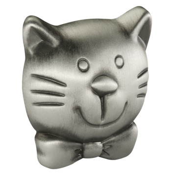 Knop Poes tin look 37mm