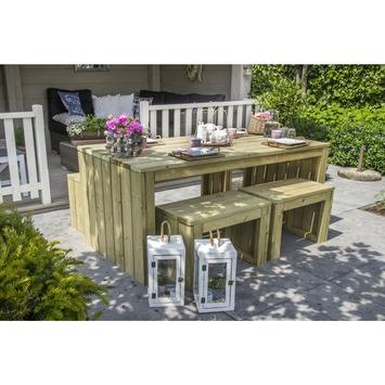 Modern picknickset: tafel, bank en 2 stoelen