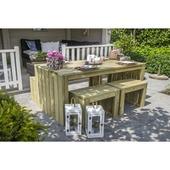 Ensemble pique-nique moderne: table, banc long et 2 bancs courts
