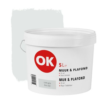 Peinture mur & plafond OK mat 5 L gris clair