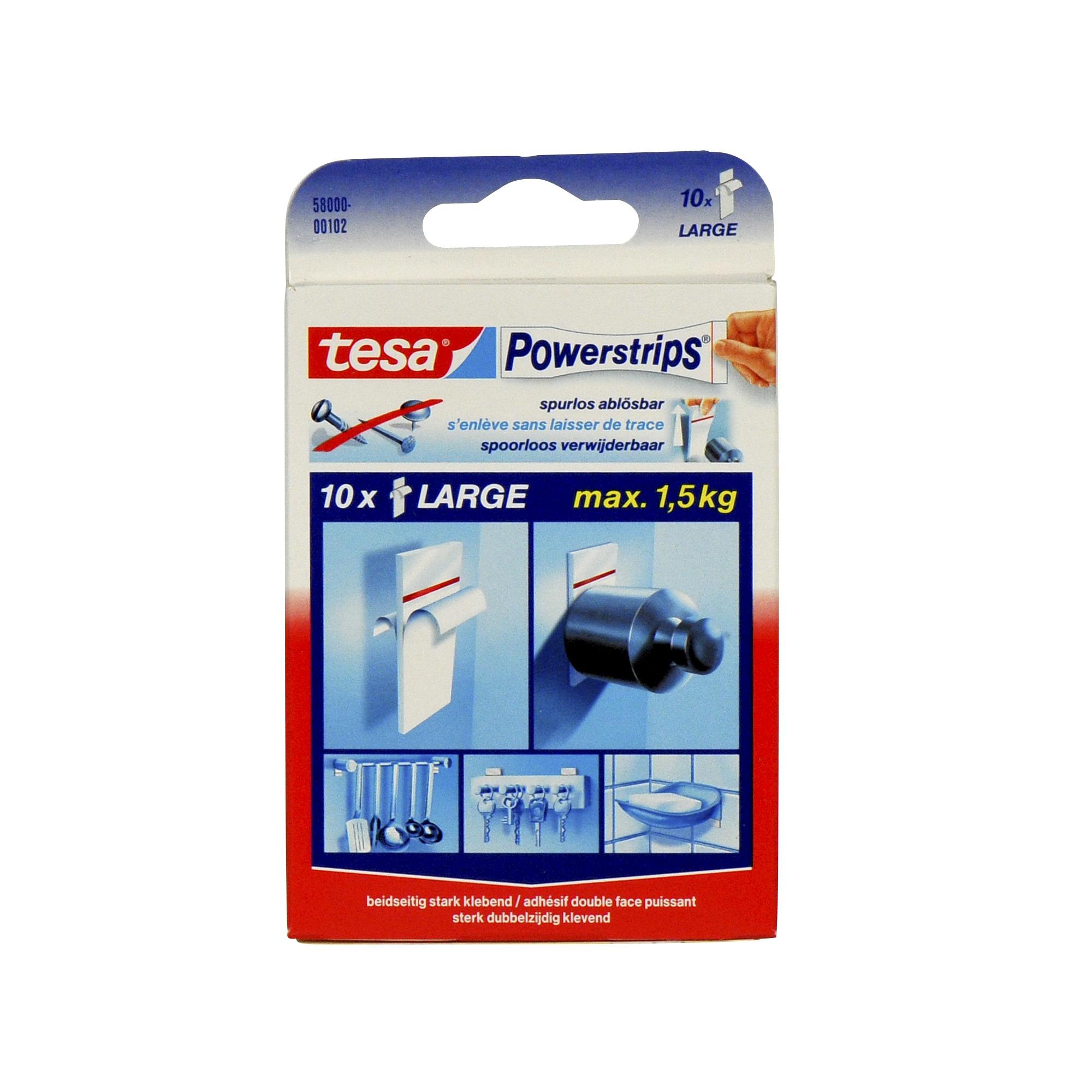 tesa powerstrips strips large wit 10 st badkameraccessoires toiletaccessoires. Black Bedroom Furniture Sets. Home Design Ideas