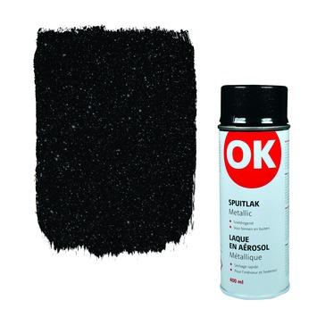 OK spuitlak metallic zwart 400 ml