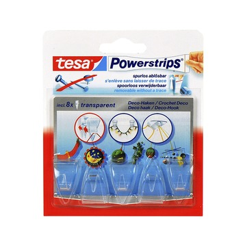 Tesa Powerstrips Crochets décoratifs transparents 8 pces