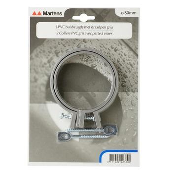 Collier avec fixation à visser Martens 80 mm gris 2 pièces