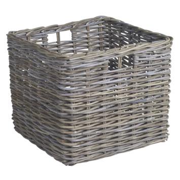 Vierkante rotan mand voor brandhout