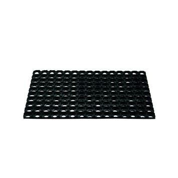 Voetmat rubberen ringen 40 cm x 60 cm zwart