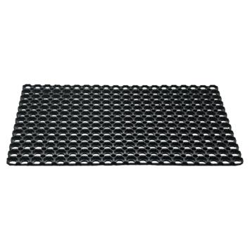 Voetmat rubberen ringen 50 cm x 80 cm zwart
