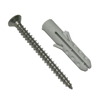 GAMMA plug nylon 8 mm 5x50 mm met spaanplaatschroef inox 8 stuks