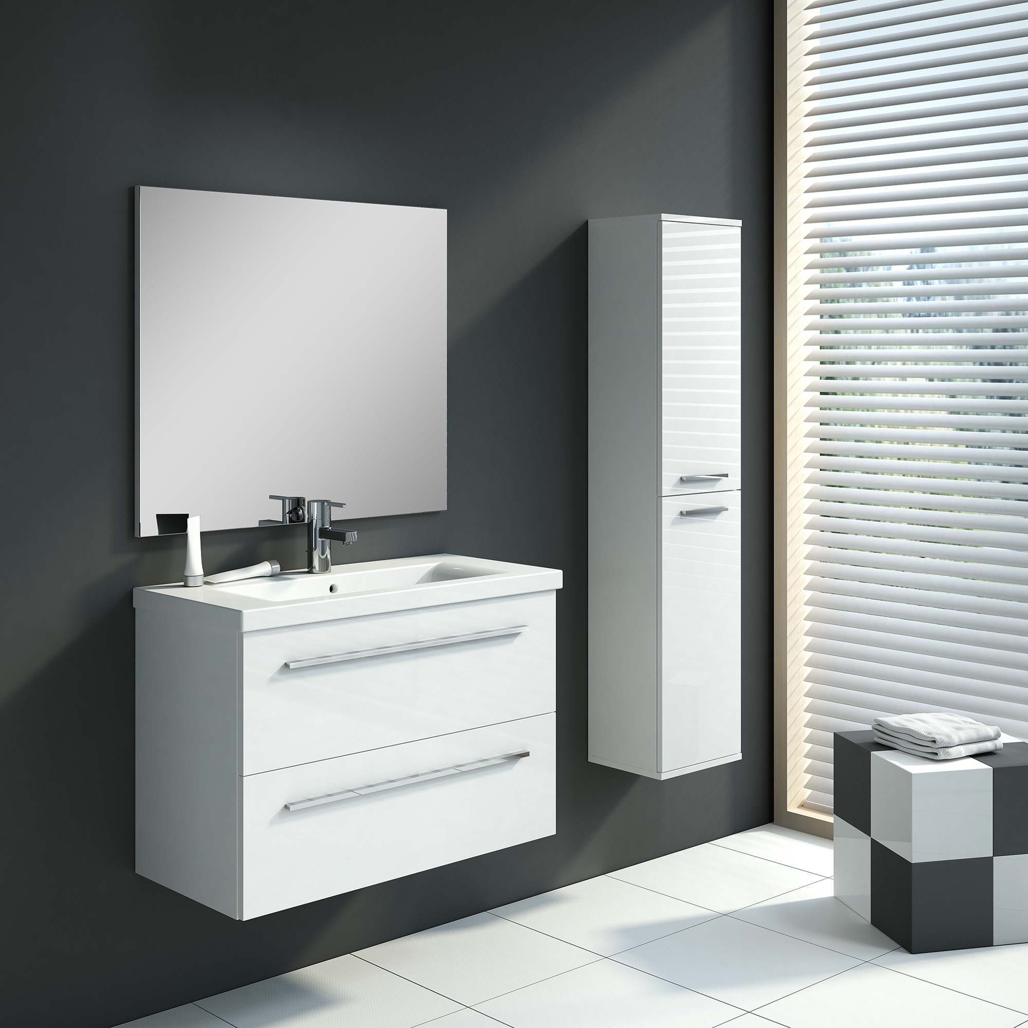 meuble de salle de bain hera set 80 cm blanc avec colonne. Black Bedroom Furniture Sets. Home Design Ideas