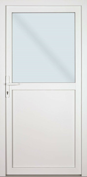 Solid buitendeur Esterno PVC E01 halfglas wit rechts 98x218 cm