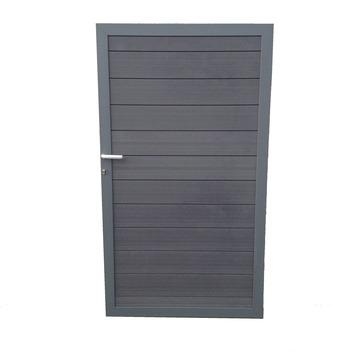Porte en bois composite Duofuse 180x100 cm graphite black