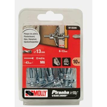 Molly Piranha hollewand plug met schroef M18006-XJ 13x34 mm