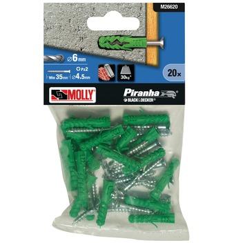 Molly Piranha plug met schroef assortiment 6x30 mm plastic