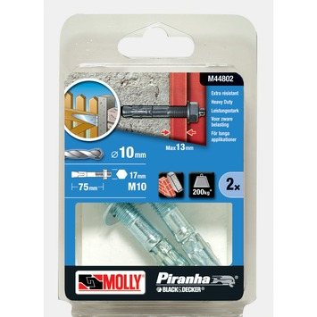 Molly Piranha doorsteekanker M44802-X 10x75 mm
