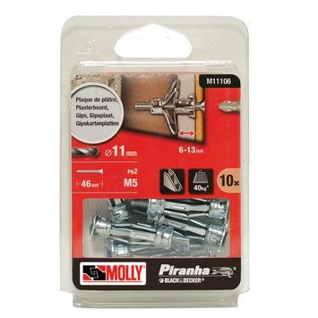 Molly Piranha hollewand plug met schroef M11106-XJ 11x36 mm