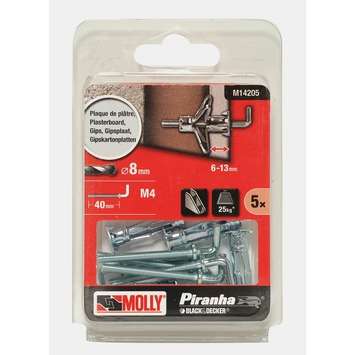 Molly Piranha hollewand plug met haak M14205 8x22 mm
